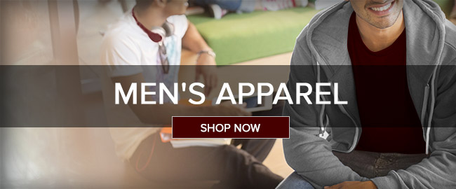 Picture of male students. Click to shop men's apparel.